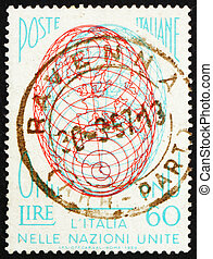 Postage stamp Italy 1956 Globe, Italys admission to the UN -...