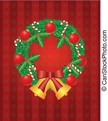 Christmas Wreath with Ornaments Bells and Candy Cane Illustration