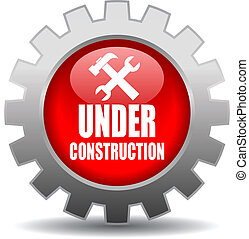 Under construction vector sign - Vector red under...