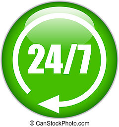Vector 24 hour green button
