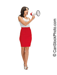 angry woman with megaphone - bright picture of angry woman...