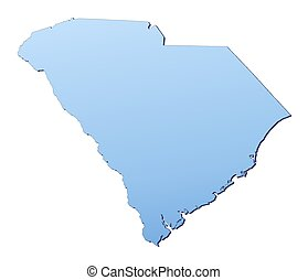South Carolina(USA) map filled with light blue gradient....
