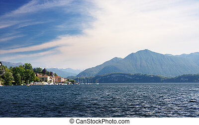 Lake Maggiore landscape view from Lesa