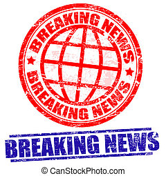 Breaking news stamps - Breaking news grunge stamps on white,...