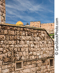 Old Jerusalem view - wailing wall and golden dome of Omar mosque