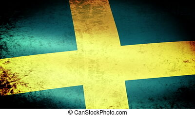Sweden Flag Waving, grunge look