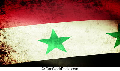 Syria Flag Waving, grunge look