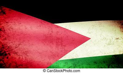 Palestine Flag Waving, grunge look