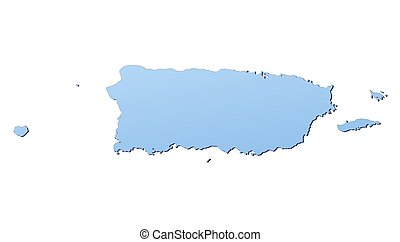 Puerto Rico map filled with light blue gradient. High...
