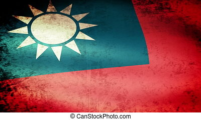 Taiwan Flag Waving, grunge look
