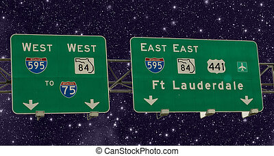 Road Sign of American Interstates, Florida