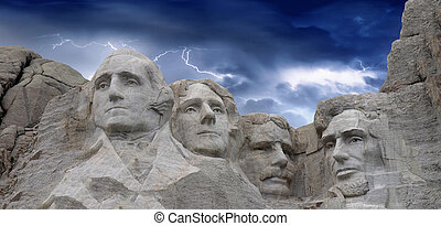 Dramatic sky above Mount Rushmore in South Dakota, USA