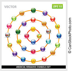 colored and creative vector vitamins set isolated