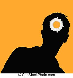 man head and hole on it illustration vector on orange eps10