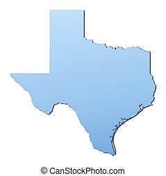 Texas(USA) map filled with light blue gradient. High...