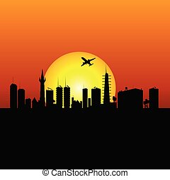city silhouette with sunshine and plane illustration