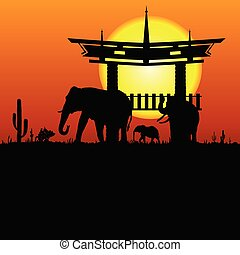 elephant and chinese construction silhouette illustration