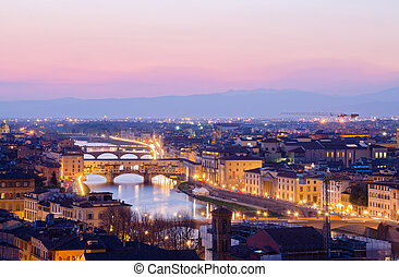Beautiful sunset over the river Arno in Florence, Italy,