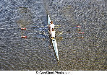 kayaking on Arno river, Florence, Italy