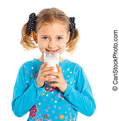 Girl with milk - Happy girl with milk mustache, isolated on...