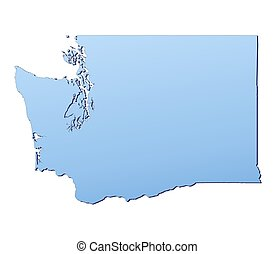Washington(USA) map filled with light blue gradient. High...