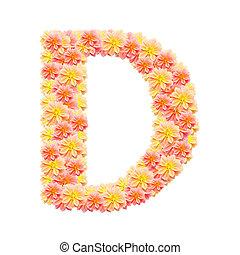 D,flower alphabet isolated on white
