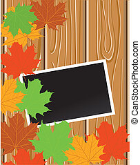 wood grain - vector frame on maple leaves and wood