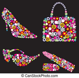 floral accessories - vector floral female accessories