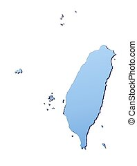 Taiwan map filled with light blue gradient. High resolution....