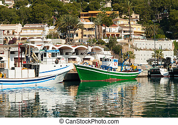 Javea - Trawlers in Javea fishing harbor, Costa Blanca,...