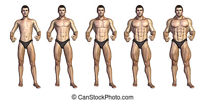 Bodybuilders Step-by-Step Transformation - Chart depicting a...