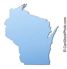 WisconsinUSA map filled with light blue gradient High...