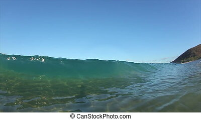 Tropical Ocean Wave - Beautiful Ocean Wave Crashing onto...