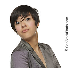 Pretty Young Mixed Race Female Making Face