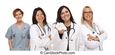 Attractive Hispanic Female Doctor or Nurse Holding Out Baby...
