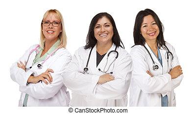 Three Female Doctors or Nurses on White