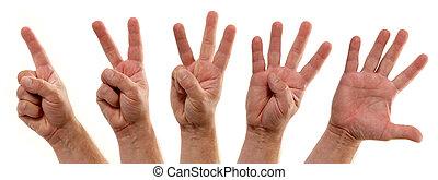 Counting Hands Number One to Five - A series of progressive...