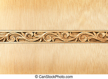 flower carved frame - Pattern of flower carved frame on wood...