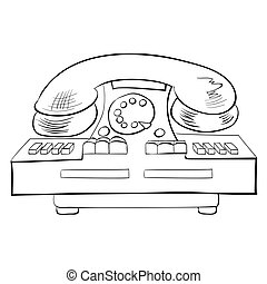 Old fashioned phone, vector illustration
