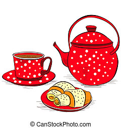 Cup of tea with buns