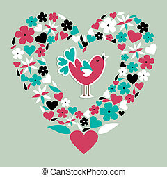Cute social bird love - Love bird concept illustration...