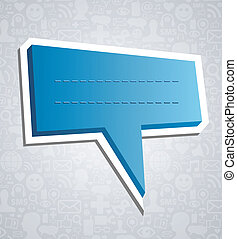 Social media speech bubble over texture - Communication talk...