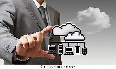 3d pixel cloud network icon - businessman hand picks 3d...