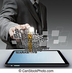 3d word internet concept - business man hand shows 3d word...