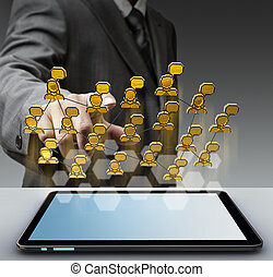 3d pixel social network icon - business man hand holding 3d...