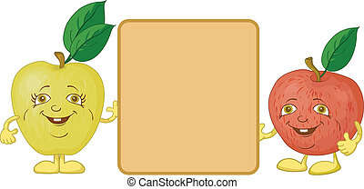 Character apples and poster