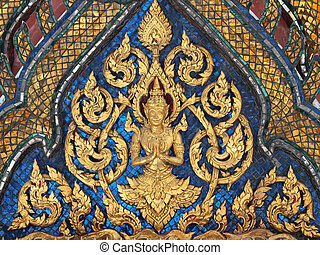 Thai art style on wall, temple in bangkok, Thailand