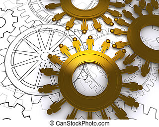 golden people cogs as concept - golden people cogs on blue...