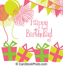 birthday card wtih balloons andd gifts. vector illustration