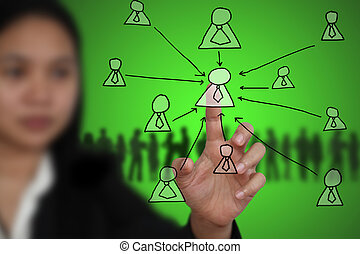 Key Person - Business Woman touch on Key Person